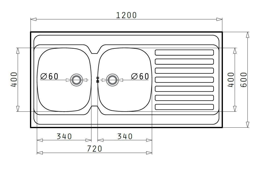Pyramis 100118502 /Évier encastrable universel 2/bacs 1//égouttoir en acier inoxydable poli 120 x 60/cm