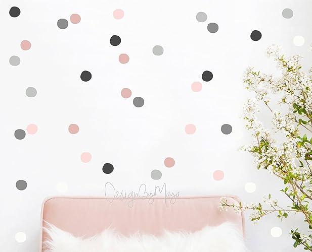 Amazon.com: Baby Girl Nursery Wall Decals, Gray, Pink, Polka dots ...