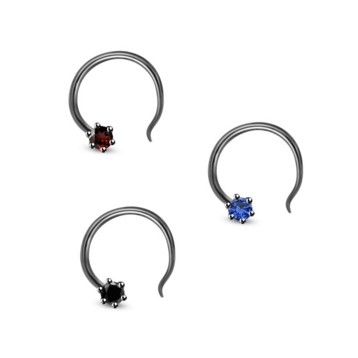 925 Sterling Silver Solitaire Nose Rings Studs Screw Piercing Body Jewelry in Three CZ Color Stone