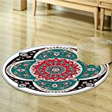 Arabian Decor Circle carpet by Nalahomeqq Oriental Ornate Embriodery Style Floral Ethnic Pattern Illustration of Old Eastern Artistic Room Accessories Multi-Diameter 120cm(47'')