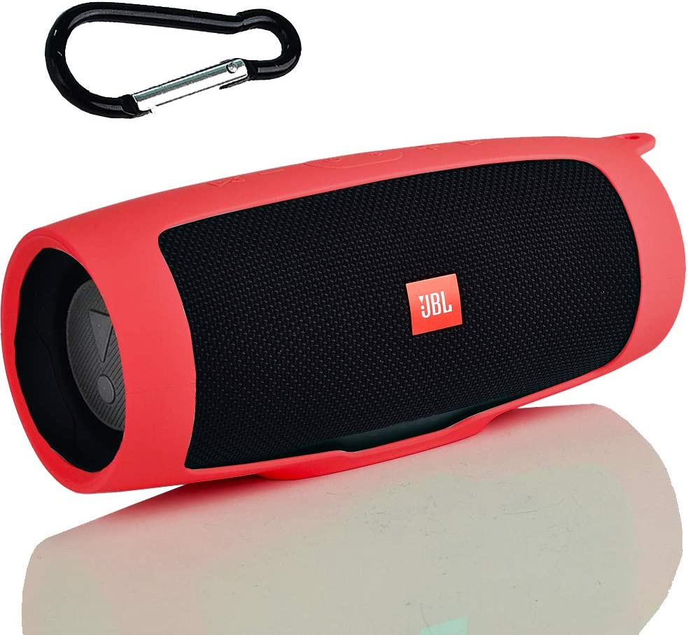COMECASE Flexible Protective Silicone Case Cover for JBL Charge 4 Portable Waterproof Wireless Bluetooth Speaker Red