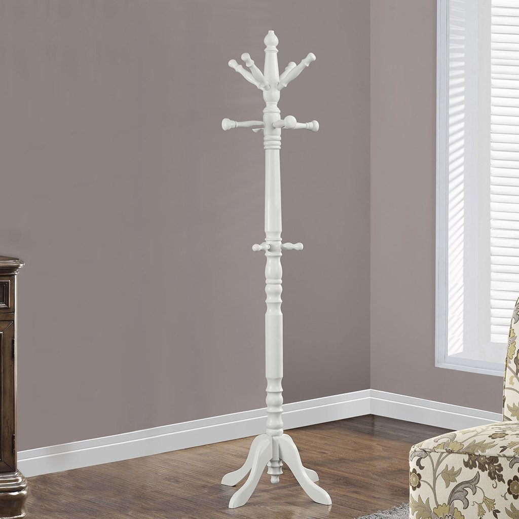 Monarch Specialties I 2013 Coat Rack-73 H/Antique White Wood Traditional Style