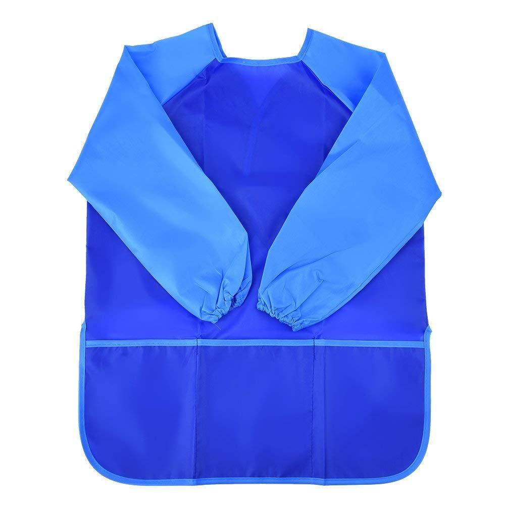 NormCorer Children Waterproof Art Smock - Kids Painting Bib Apron Long Sleeves with 3 Pockets (blue(1pcs), s