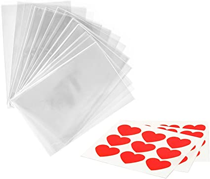 X100 Biscuits Pack Plastic Bag Candy Bag Polka Dot Self Adhesive Bags