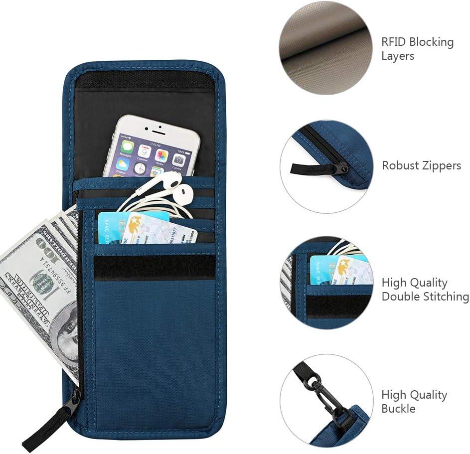 portefeuille de s/écurit/é de voyage pour homme et femme Bleu bleu marine Taille unique pochette pour /écran tactile Plambag Portefeuille de voyage avec blocage RFID pour passeport de s/écurit/é en nylon