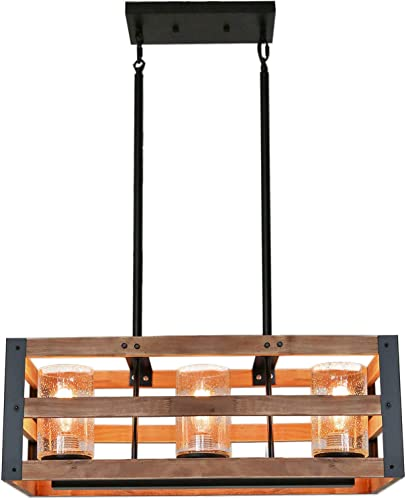 Eumyviv Rectangle Three Tiers Wood Metal Pendant Lamp with Seeded Glass Shade Black Finished Retro Rustic Vintage Industrial Edison Ceiling Lamp Linear Chandeliers C0027 3-Lights