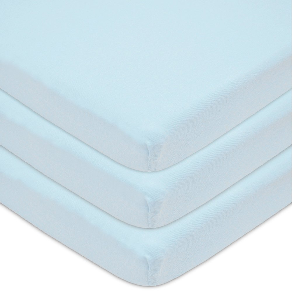American Baby Company 3 Piece 100% Cotton Jersey Knit Cradle Sheet, Fitted,Blue, 18'' x 36''