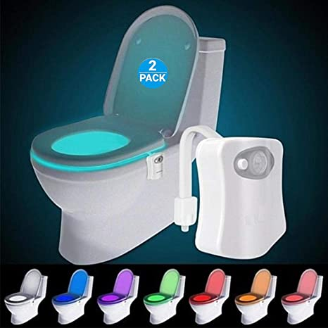 Amazon Com Original Toilet Night Light 2 Pack Motion Sensor Activated Led Lamp Fun 8 Colors Changing Bathroom Nightlight Add On Toilet Bowl Seat Perfect Decorating Gadget Cool Gift For Dad Adults Kids