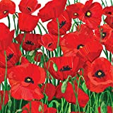 Paperproducts Design Lunch Napkin with Exquisite Red Poppies Design, 6.5 x 6.5'', Multicolor