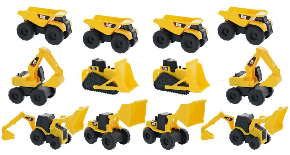 Toystate 1 Road Rippers Cat Mini Machine Free-Wheeling Construction Playtime Truck Kit (12 Pack: 4 x Dump 2 x Loaders, 2 x Excavator, 2 x Bulldozer, 1