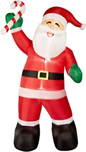PRAISUN 8Ft Christmas Inflatable Yard Decor, Blow Up Lighted Sugar Santa Claus, Outdoor Indoor Holiday Decorations with LED Lights for Home Lawn