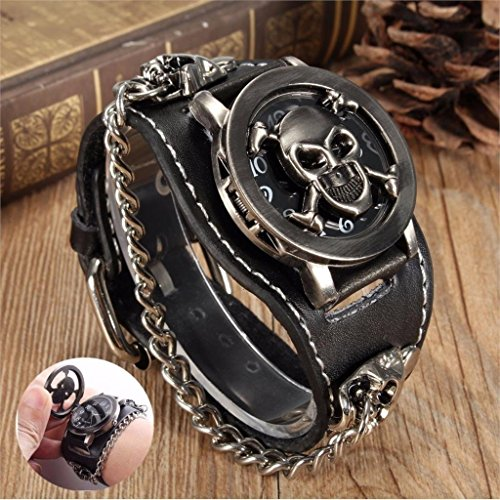 ZHX Fashion Men/Womens Black Punk Rock Retro Unisex Chain Skull Leather Wrist Watches Vintage Punk Gothic Skull Leather Band Bracelet Black Skull Watch