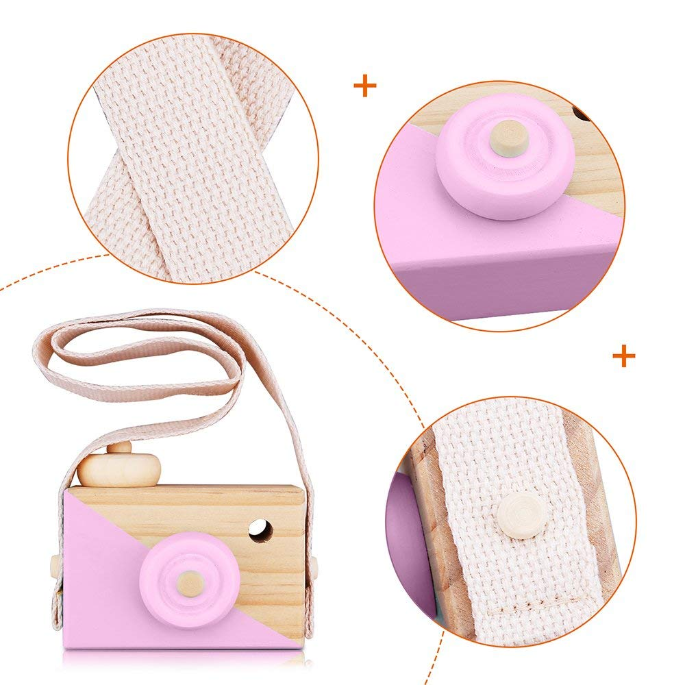 White Amatted Wooden Camera Toy Mini Sharpe Toy with Neck Strap for Baby Toddlers Children Kids Room Hanging Decor