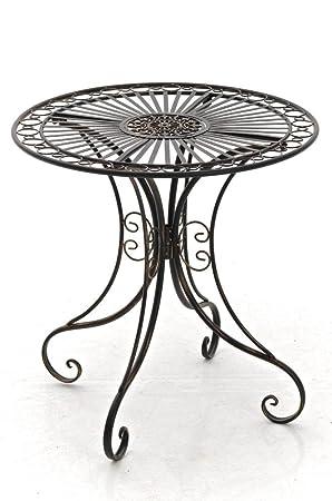 Stilvoller Metall Gartentisch In Antiker Optik Runde Form Robust