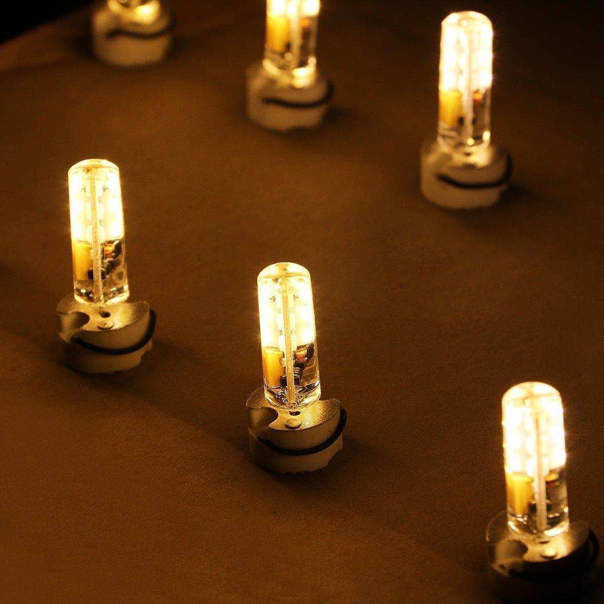 AveyLum 2.5W G4 LED Lampen Warmweiß, Ersatz für 20W Halogenlampen, 180lm, 3000K, 2835 SMD Kieselgel LED Dekorative Kronleuchter Beleuchtung, LED Birnen, LED Leuchtmittel, AC/DC 12V, 10er Pack