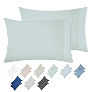 California Design Den Silver Sage Pillow Case Set - Standard Size 100% Natural Cotton Pillow Cases, 500 Thread Count, 2 Piece Solid Sateen Weave Pillow Cover Set