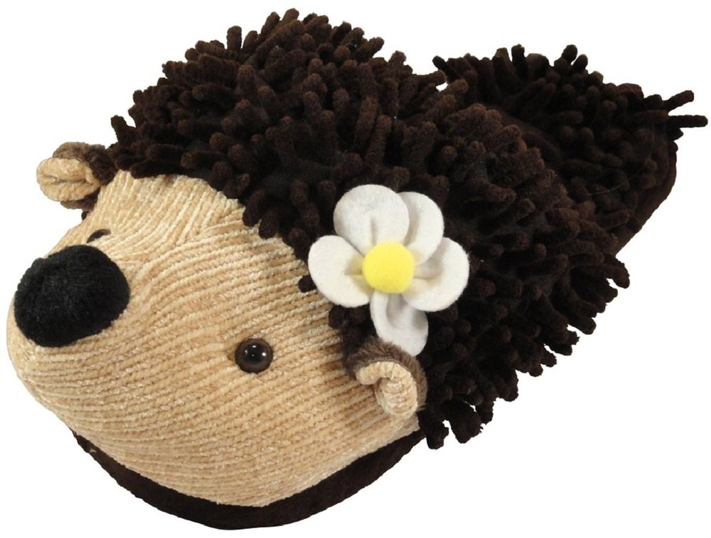 Animal World - Hedgehog Fuzzy Friends Unisex Adult Size Slippers - Large Brown
