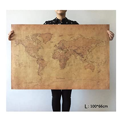 Amazon choose size the old world map huge large vintage style choose size the old world map huge large vintage style retro paper poster home wall gumiabroncs Image collections