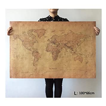 Amazon choose size the old world map huge large vintage choose size the old world map huge large vintage style retro paper poster home wall gumiabroncs Gallery