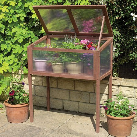 Raised Wooden Greenhouse Cold Frame