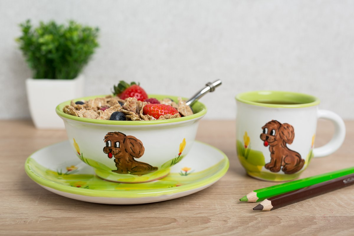 City to Cottage Colourful Disney Cartoon Animal | Handmade Hand Painted | Kids Childrens Toddlers | Glazed Ceramic Dinner Set of 3 | Dinner Plate | Cereal Bowl | Mug (Cavalier Dog) citytocottage.co.uk