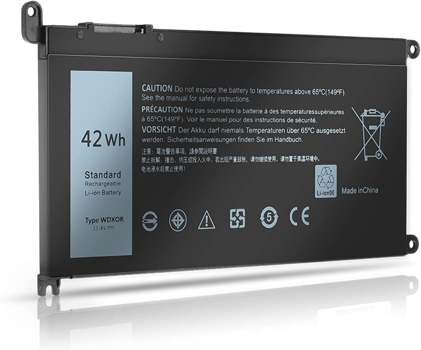 WDX0R Laptop Battery Replace for Dell Inspiron 17 5765 5767 5770 15 5565 5567 5568 5578 7560 7570 7579 7569 13 5368 5378 5379 7368 7378 fit 3CRH3 T2JX4 FC92N CYMGM Notebook [42Wh/11.4V]
