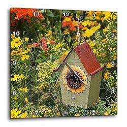 3dRose Danita Delimont - Garden - Sunflower birdhouse in garden with flowers - 13x13 Wall Clock (dpp_251042_2)