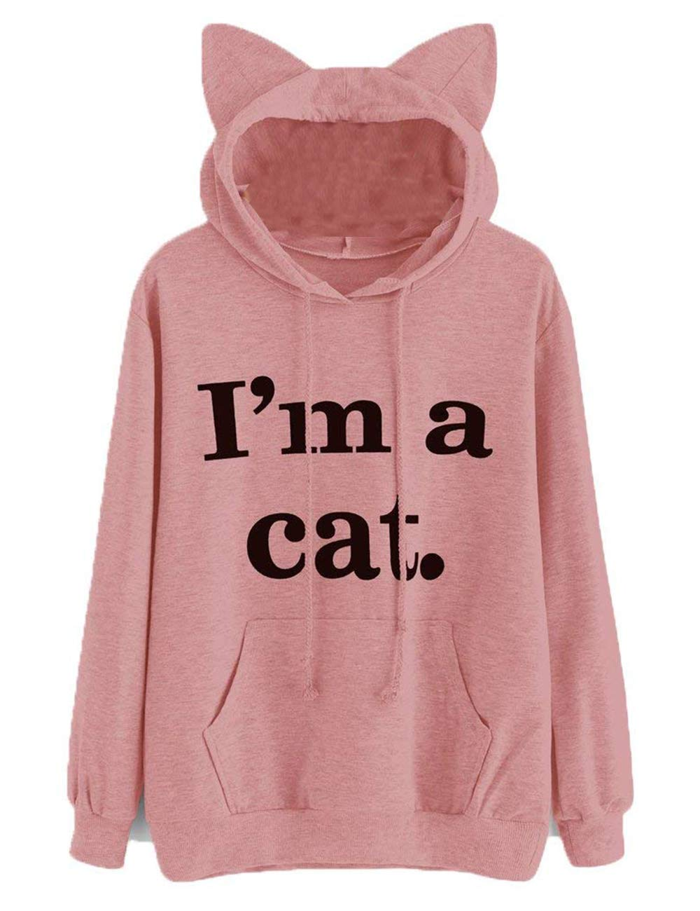Women's Cat Ear Long Sleeve Hoodie Sweatshirt Hooded Pullover T-Shirt Tops with Pockets (Style B-Pink, S)