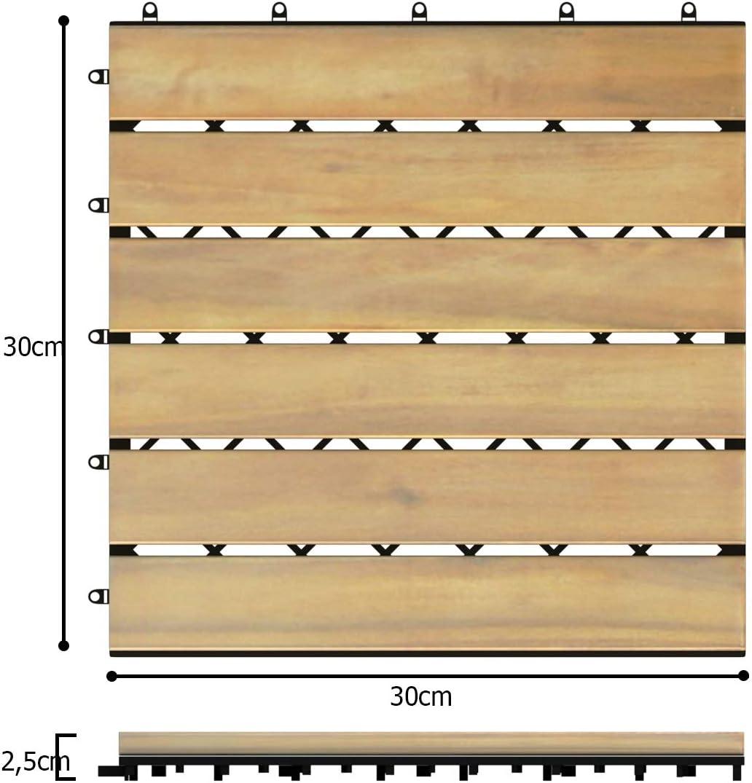 Holzfliesen Bodenbelag Bodenfliesen Akazienholz 12 Latten COSTWAY 10er Set 30x30cm Terrassenfliesen Holz Klickfliesen Braun