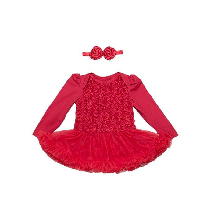 2PCS Vestido+diadema Conjuntos para bebé niña,Yannerr recien nacido rosa tutú fiesta princesa