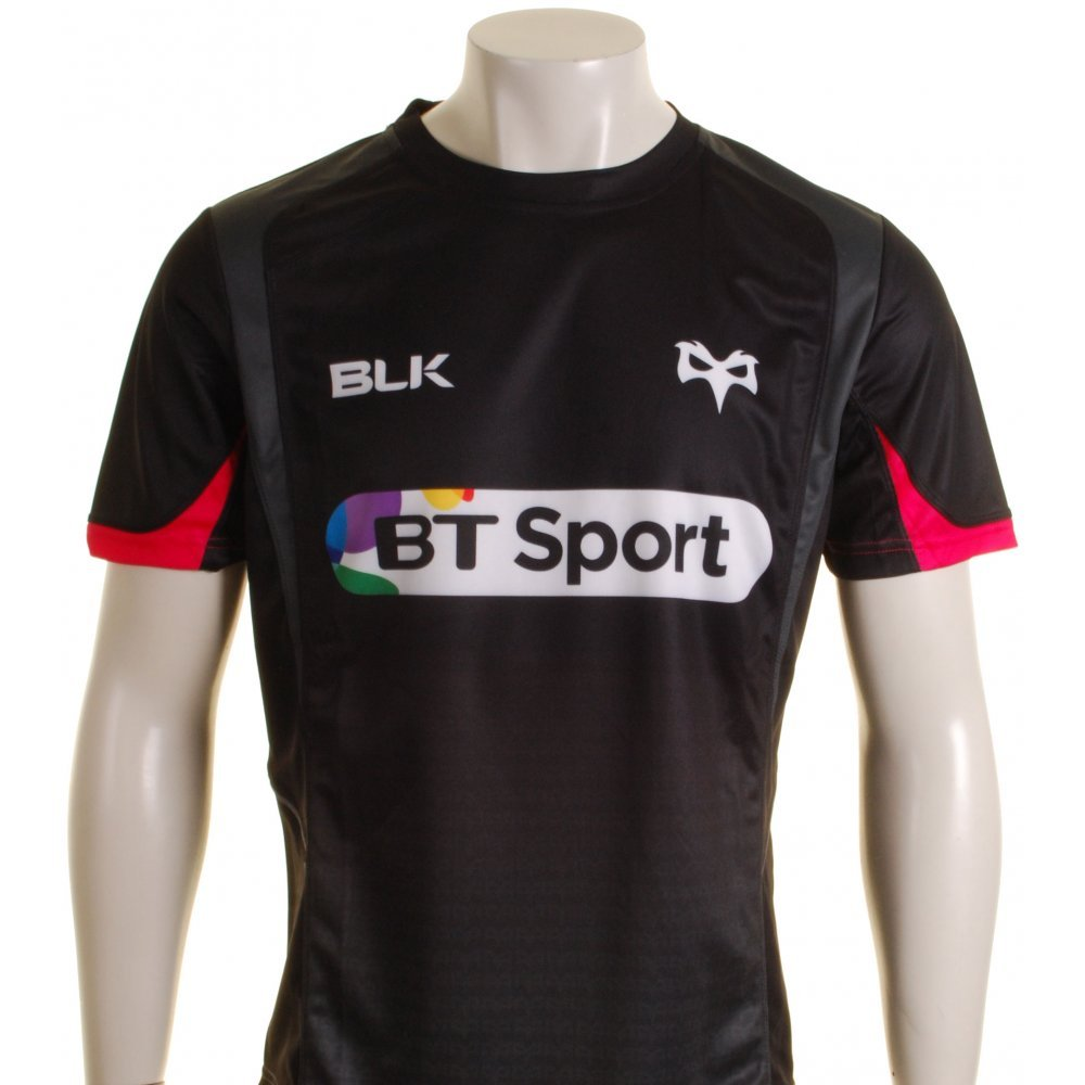 2015-2016 Ospreys BLK Rugby Training Tee (Black) B014GGPPJEBlack Medium Adults