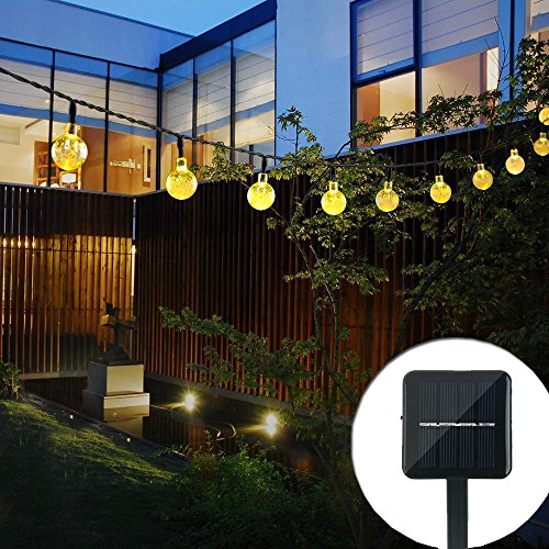 Solar Outdoor String Lights, Satu Brown 21ft 30 LED Waterproof Crystal Ball Starry Globe Lights for Home, Garden, Patio, Yard, Parties, Christmas Decoration (Warm White) (Roof Fan Sun Black)