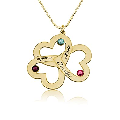 82713587f Amazon.com: Love Pendant with Birthstones Triple Heart Birthstones Necklace  in Gold Plating - For Mother Mom - Engraved with Any 3 Names (14): Jewelry