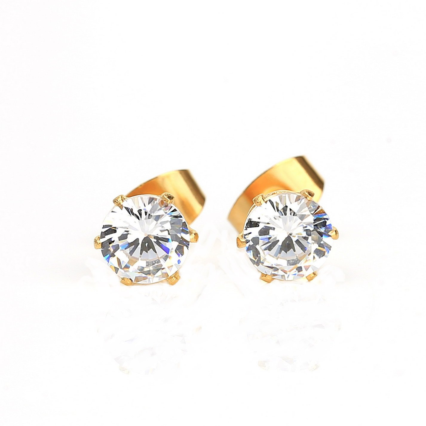 Striking Gold Tone Swarovski Style Stud Earrings, Approx. 3.5 Ct Total Weight (Comparable to Diamond Weight)