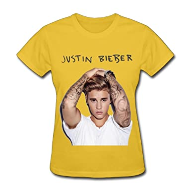 0a43d8d64 Amazon.com: DA Justin Bieber Purpose Tour 2016 T Shirt For Women Yellow M:  Clothing