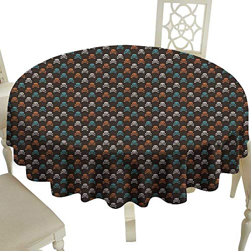 Cranekey Striped Round Tablecloth 60 Inch Pirates,Different Colored Graphic Skull Figures with Bones on Black Background Halloween Multicolor Perfect for Spring,Summer,Farmhouse Décor,& More -