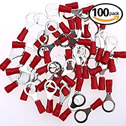 Glarks 100pcs 22-16 Gauge M8 Ring Electrical Insulated Quick Splice Crimp Terminals Connectors