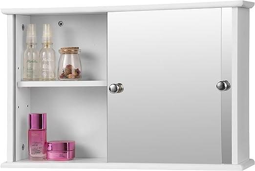 EUGAD Armarios con Espejo para Baño Cocina Mueble Espejo para Baño Mueble de Pared de baño