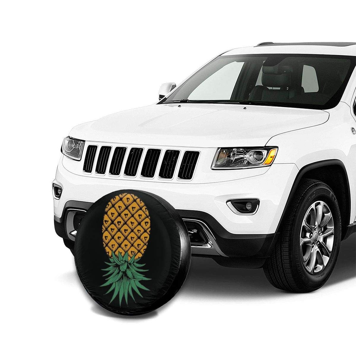 JOMMP-PO Upside Down Pineapple Symbol Spare Tire Cover Waterproof Dust-Proof Universal Spare Wheel Tire Cover Fit for Jeep,Trailer RV SUV and Many Vehicle