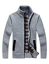 LemonGirl Mens Casual Slim Full Zip Knitted Cardigan Sweater with Pocked