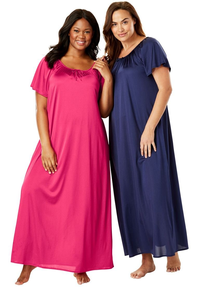 Only Necessities Women's Plus Size 2-Pack Long Nightgown Set