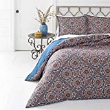 3 Piece Multi Color Full Queen Size Duvet Cover Set, Vibrant Blue Red Indigo Southwest Theme Bedding Bohemian Geometric Medallion Pattern Bedding Shabby Chic Casual Modern, Microfiber Polyester