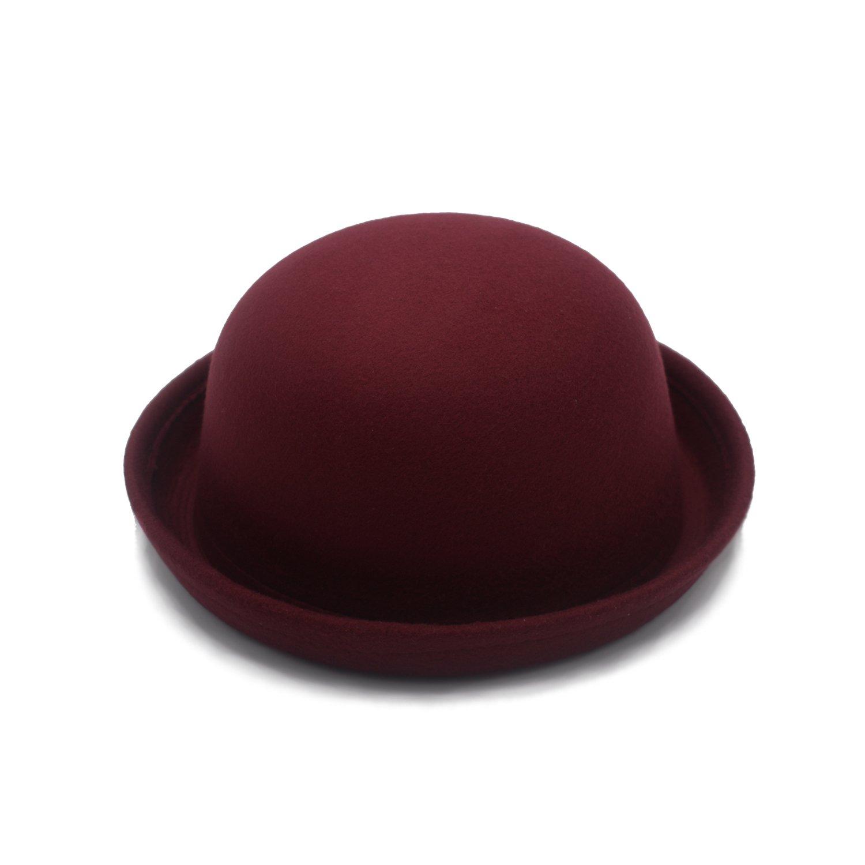 JEDAGX Vintage Style Mujeres Lana Roll-up Brim Fedora Bowler Hat-Vino Rojo   Amazon.es  Ropa y accesorios b1aee7119c6