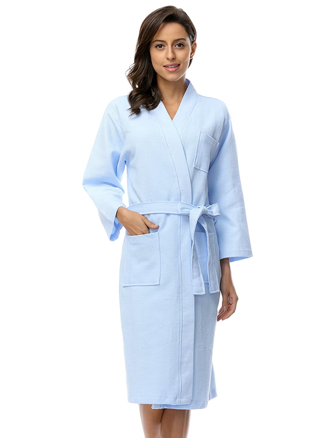 BELLOO Women Cotton Waffle Bathrobe Light Weight Dressing Gown   Amazon.co.uk  Clothing f8f794fb1