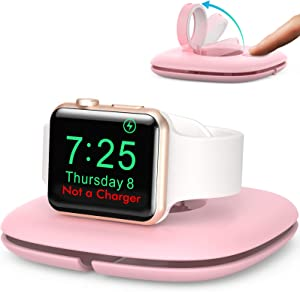 AhaStyle Compact Stand for Apple Watch, Foldable Automatic Pop Up Charging Stand Dock Holder Compatible with Apple Watch Series SE/6/5/4/3/2/1(Pink)