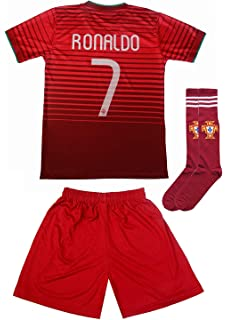 22e1c64d62a FPF 2018 Portugal Cristiano Ronaldo #7 Home Football Soccer Kids Jersey  Short Socks Set Youth