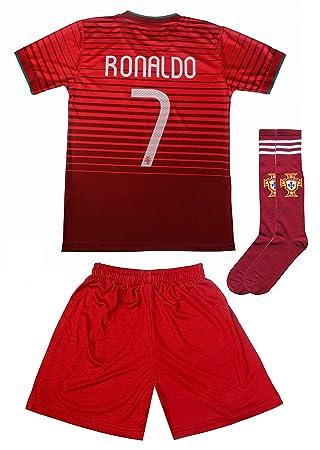 1a1464a2e11 2015 Portugal Cristiano Ronaldo  7 Home Football Soccer Kids Jersey Short  Socks Set Youth Sizes (10-11 YEARS)