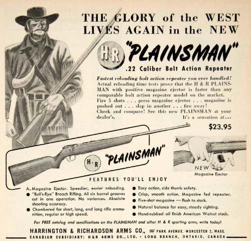 Action Repeater (1949 Ad Plainsman Harrington Richardson Arms .22 Caliber Bolt Action Repeater - Original Print Ad)