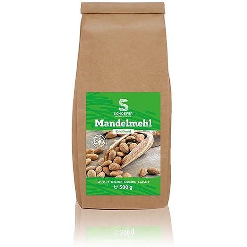 Bio Mandelmehl teil-entölt, weißes Low-CarbMehl aus Süß-Mandeln, gemahlen, blanchiert, vegan, glutenfrei, Paleo, 500g