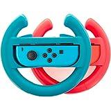 Steering Wheel handle grips for Nintendo Switch Racing Wheel Joy-con grips handle Set by Lammcou for Nintendo Switch Controller-Blue&Red